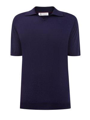 Поло с короткими рукавами из мягкой хлопковой пряжи BRUNELLO CUCINELLI. Цвет: синий