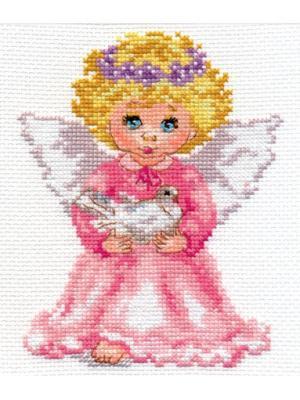 Набор для вышивания Ангелочек  12х14 см. Алиса. Цвет: белый, желтый, розовый