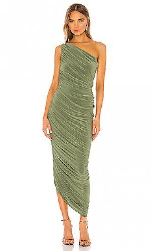 Вечернее платье diana Norma Kamali. Цвет: оливковый