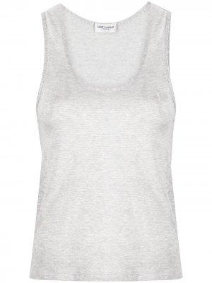 Топ с вышитым логотипом Saint Laurent. Цвет: серый