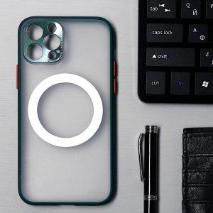 Чехол luazon для iphone 12 pro, поддержка mag-safe, с окантовкой, пластиковый, зеленый Home