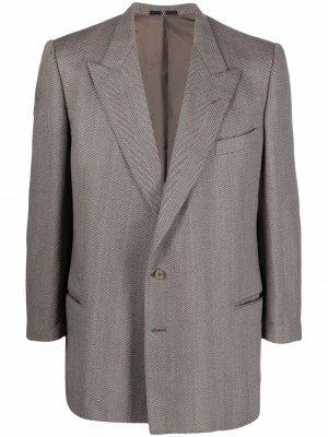 Однобортный пиджак 1990-х годов с узором в елочку Valentino Pre-Owned. Цвет: нейтральные цвета
