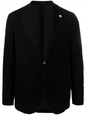 Однобортный пиджак с брошью Lardini. Цвет: черный