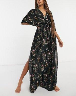 Пляжное платье макси со сборками и темным цветочным принтом -Мульти ASOS DESIGN