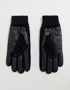 Черные перчатки для сенсорных экранов из кожи и замши с манжетами в рубчик -Черный ASOS DESIGN
