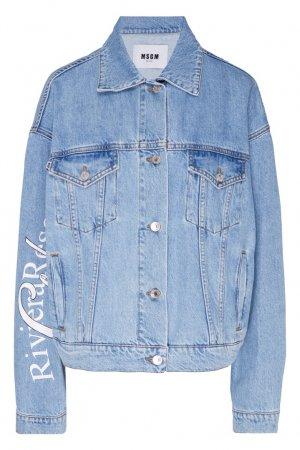 Голубая джинсовая куртка с принтом MSGM. Цвет: синий