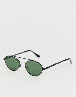 Черные овальные солнцезащитные очки-авиаторы AJ Morgan. Цвет: черный
