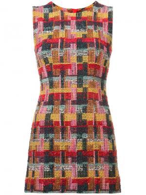 Твидовое облегающее платье мини Adam Lippes. Цвет: красный