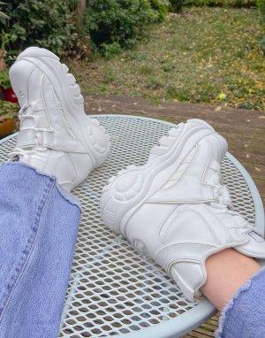 Белые высокие кожаные ботинки на массивной подошве -Белый Buffalo