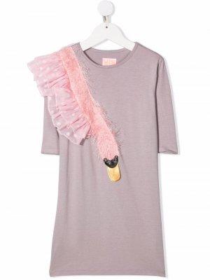Платье с аппликацией WAUW CAPOW by BANGBANG. Цвет: фиолетовый