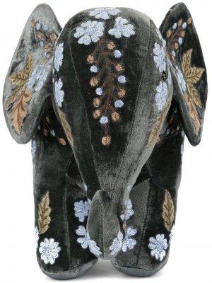 Мягкая игрушка в форме слона с вышивкой Anke Drechsel. Цвет: зеленый