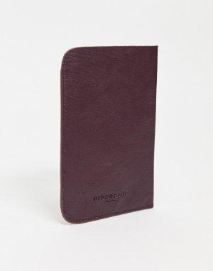 Кожаная обложка для паспорта темного ягодного цвета -Красный Urbancode