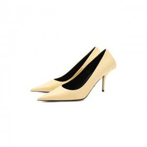 Кожаные туфли Square Knife Balenciaga. Цвет: бежевый