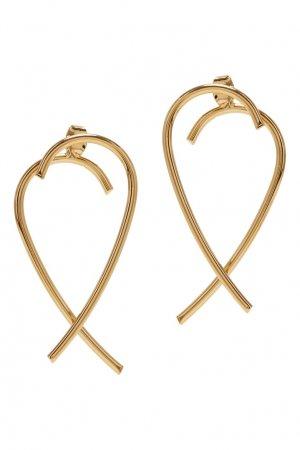 Золотистые серьги-завитки Aqua. Цвет: золотой
