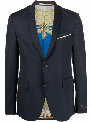 Однобортный пиджак из шерсти Versace. Цвет: синий