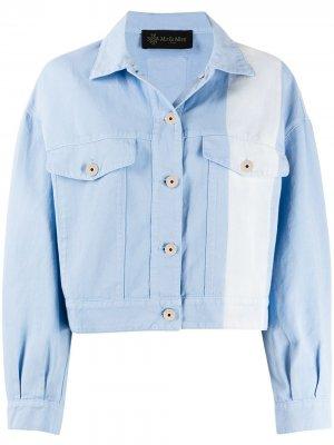 Джинсовая куртка с контрастной полоской Mr & Mrs Italy. Цвет: синий