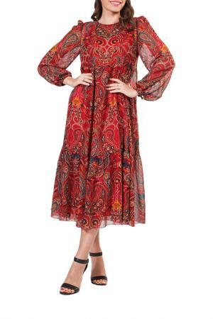 Платье Forus. Цвет: темно красный
