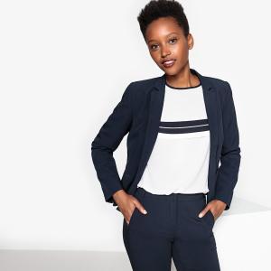 Пиджак костюмный приталенного покроя из полиэстера LA REDOUTE COLLECTIONS. Цвет: темно-синий,черный