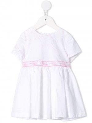 Расклешенное платье Alviero Martini Kids. Цвет: белый