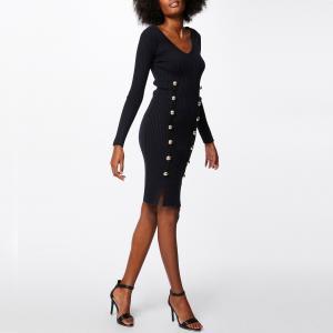 Платье-пуловер облегающее с V-образным вырезом, рукава 3/4 MORGAN. Цвет: темно-синий