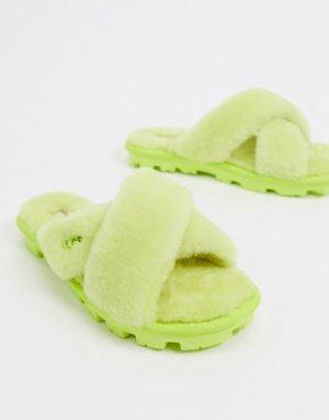 Слиперы с перекрестными ремешками лаймового цвета Fuzzette-Зеленый UGG