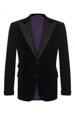 Хлопковый пиджак Ralph Lauren. Цвет: чёрный