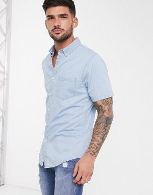 Голубая джинсовая рубашка с короткими рукавами -Голубой New Look
