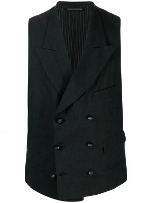 Двубортный жилет Yohji Yamamoto. Цвет: черный