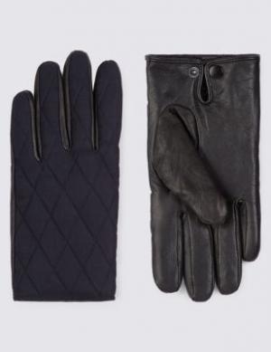 Кожаные перчатки Thinsulate™ со стёганой отделкой Blue Harbour. Цвет: темно-синий
