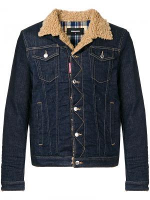Джинсовая куртка с воротником из овечьего меха Dsquared2