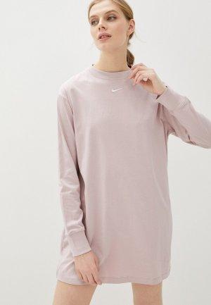 Платье Nike W NSW ESSNTL DRESS LS. Цвет: розовый
