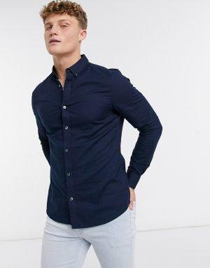 Темно-синяя оксфордская рубашка скинни с длинными рукавами -Темно-синий Burton Menswear
