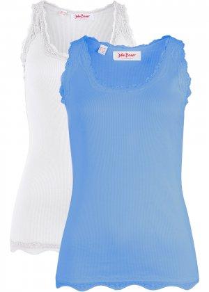Трикотажная майка-лапша (2 штуки в упаковке) bonprix. Цвет: синий