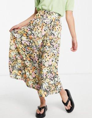 Юбка миди с карманами и ярким цветочным принтом -Разноцветный ASOS DESIGN