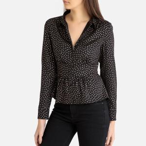 Блузка с рисунком золотистого цвета и баской GLORIO BA&SH. Цвет: розовый,черный