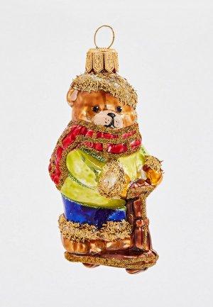 Игрушка елочная Грай Медвежонок на самокате. Цвет: разноцветный