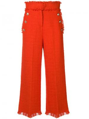Укороченные твидовые брюки MSGM. Цвет: красный