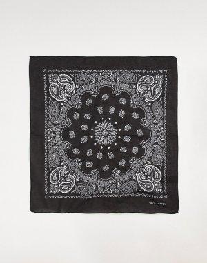Черная бандана с узором пейсли -Черный цвет Jack & Jones
