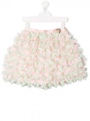 Мини-юбка с оборками ELIE SAAB JUNIOR. Цвет: розовый