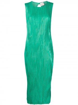 Плиссированное платье миди Alysi. Цвет: зеленый