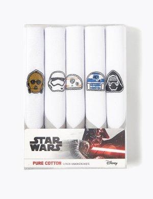 Комплект хлопковых носовых платков с вышивкой Star Wars™ (5 шт.) M&S Collection. Цвет: белый микс