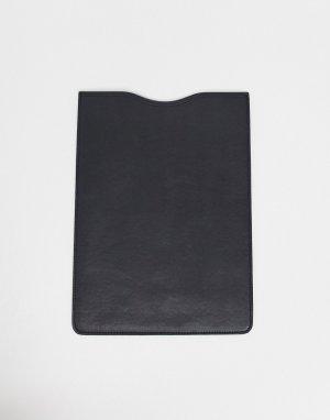 Чехол для ноутбука с диагональю 15 дюймов из черной искусственной кожи -Черный ASOS DESIGN