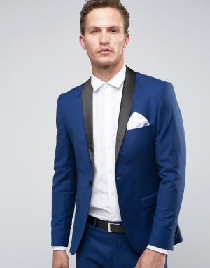 Супероблегающий пиджак-смокинг Selected Homme. Цвет: темно-синий