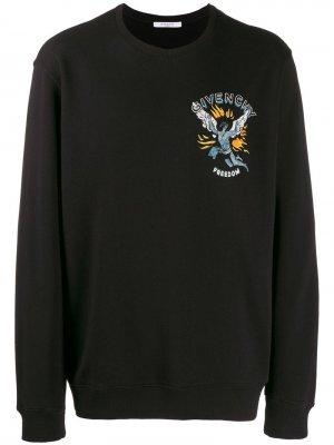 Толстовка с принтом Freedom Givenchy. Цвет: черный