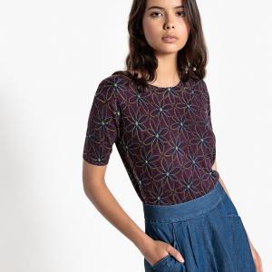 Пуловер с круглым вырезом и короткими рукавами из тонкого трикотажа LA REDOUTE COLLECTIONS. Цвет: цветочный рисунок