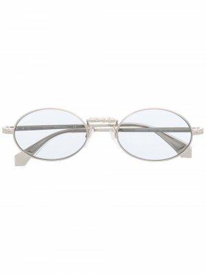 Солнцезащитные очки в овальной оправе Off-White. Цвет: серебристый