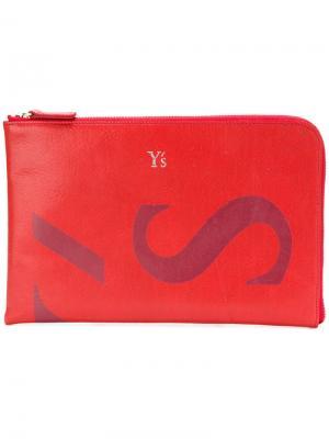 Кошелек с принтом логотипа Y's. Цвет: красный