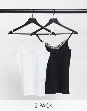 Набор из двух маек на бретельках черного и белого цвета с кружевной отделкой -Многоцветный Vero Moda