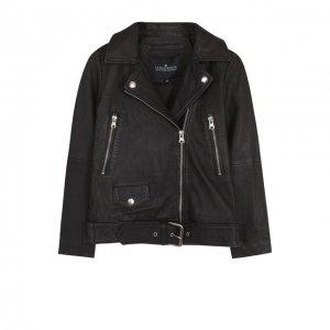 Кожаная куртка с косой молнией Designers, Remix girls. Цвет: чёрный