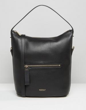 Кожаная сумка на плечо с текстурой кожи ящерицы Modalu. Цвет: черный